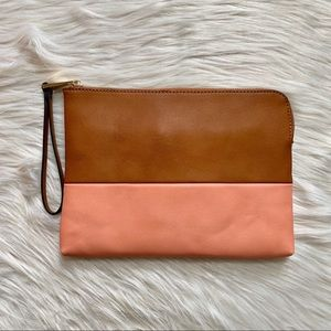 Street Level Two Tone Leather Clutch